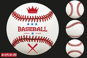 Set of Baseball Ball. Vector+JPEG