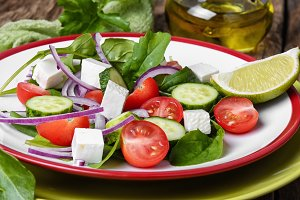 salad with spinach,cheese and tomato