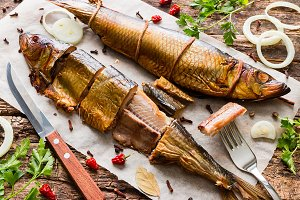 smoked herring with herbs and spices