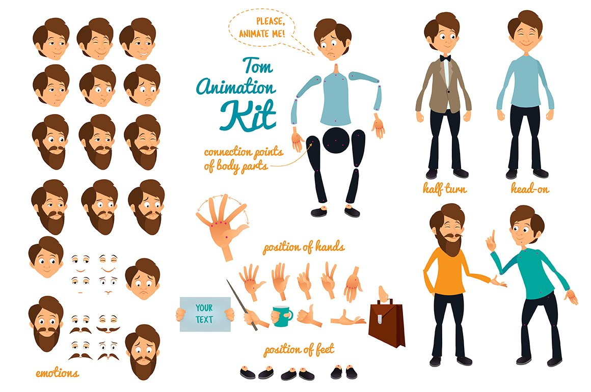 character animation kit graphic objects creative market