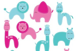 Baby Shower Animal Vectors & Clipart