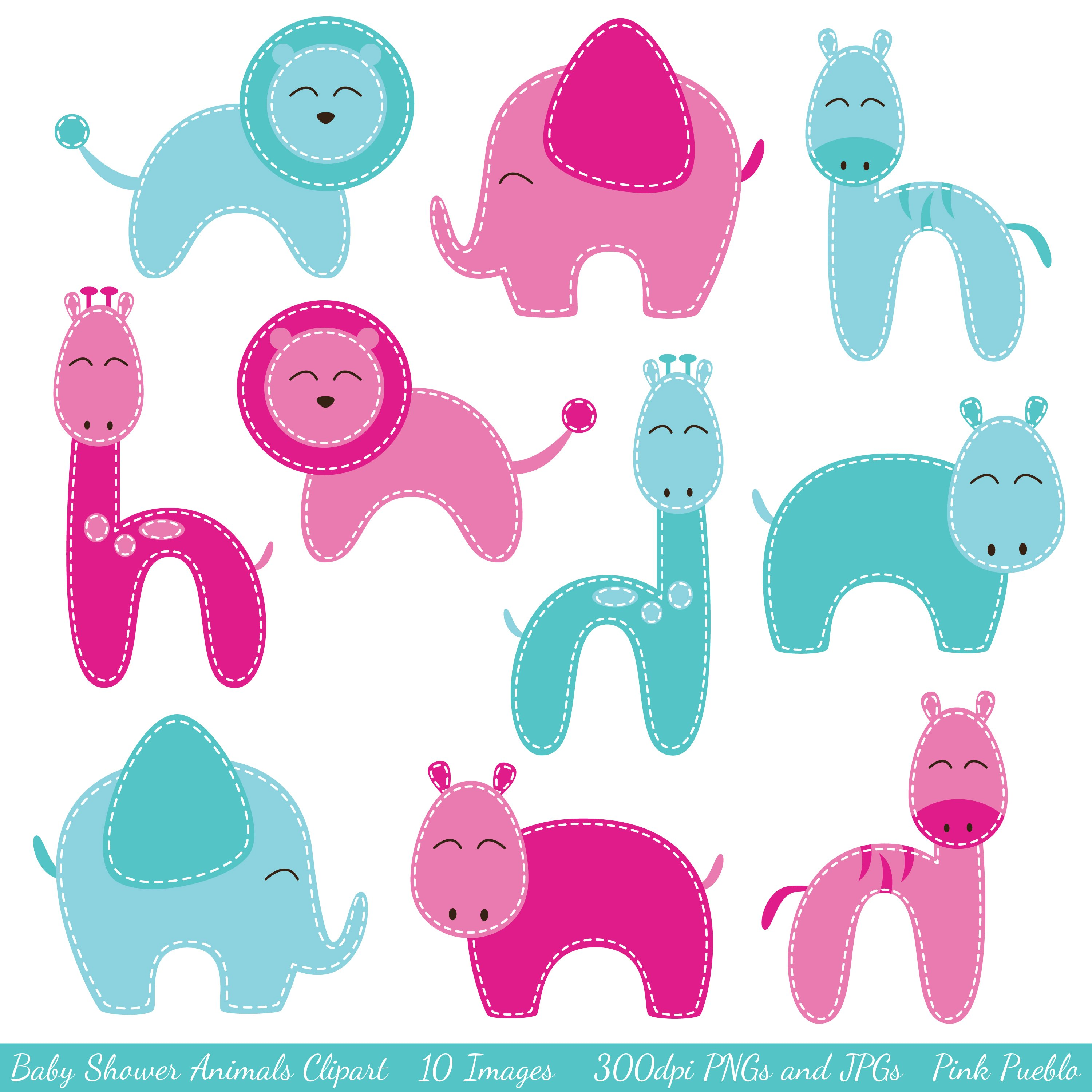 Baby Shower Animal Vectors Clipart Illustrations Creative Market