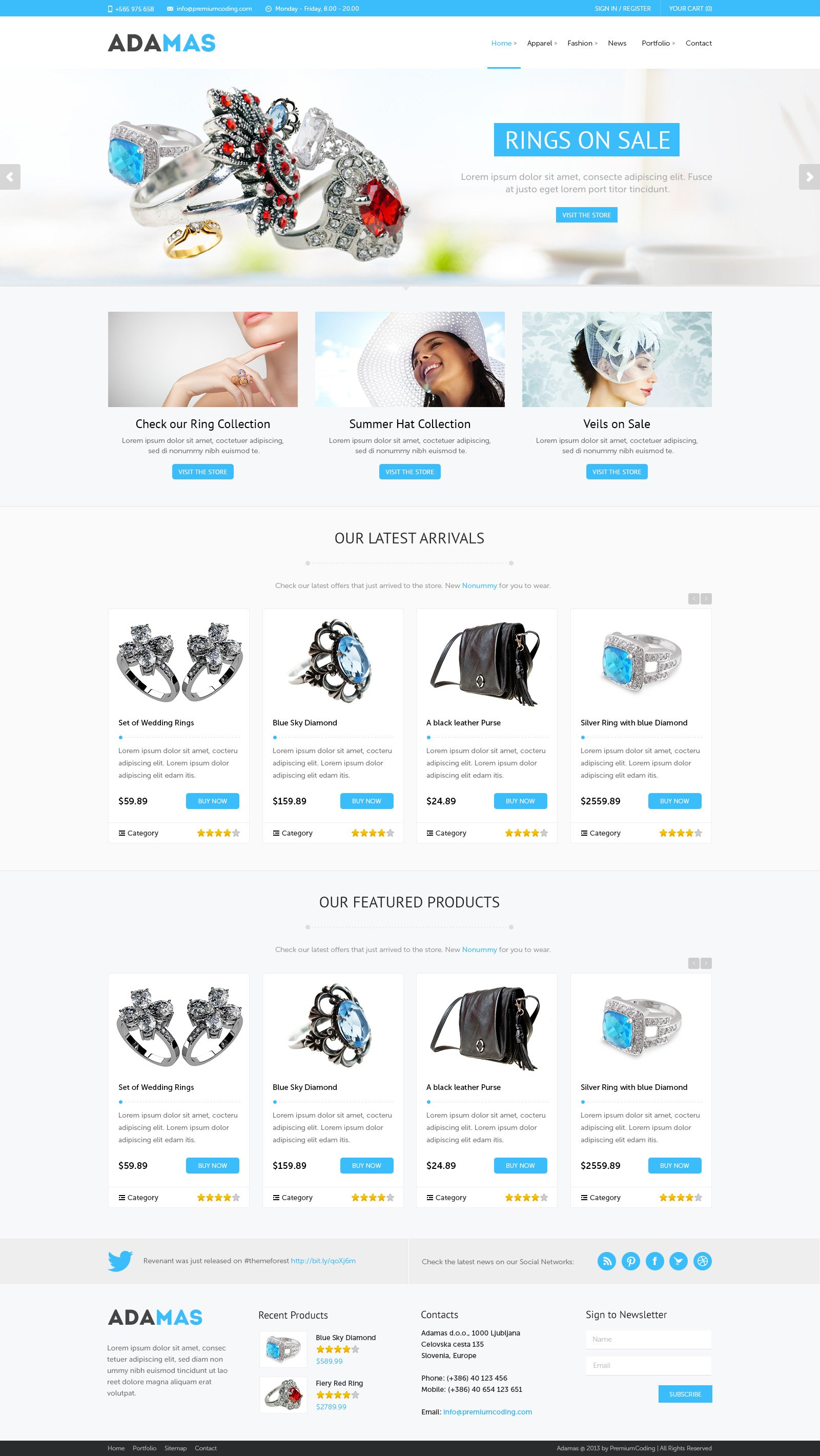 Adamas Ecommerce PSD Template Website Templates Creative Market - Free ecommerce website templates shopping cart