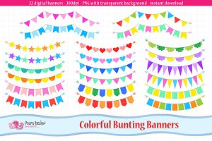 Colorful Bunting Banners clipart