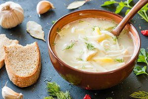 soup with noodles and potatoes