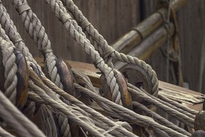 ship ropes and brackets on a seagoing vessel