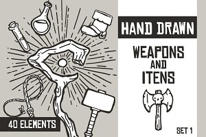 Hand Drawn Weapons and Itens - Set 1