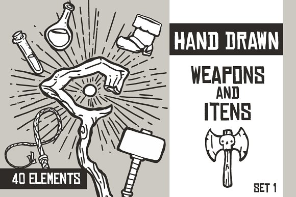 Hand Drawn Weapons And Itens Set 1