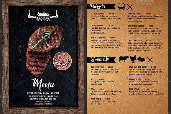 Grill Restaurant Menu Flyer Template Flyer Templates Creative Market - Menu brochure template