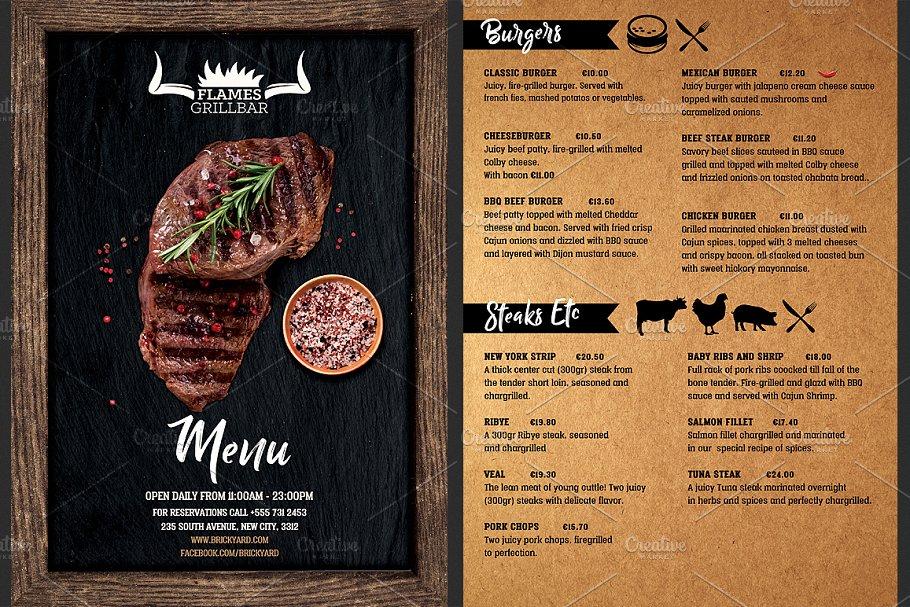 Grill Food Menu Template Flyer Templates Creative Market