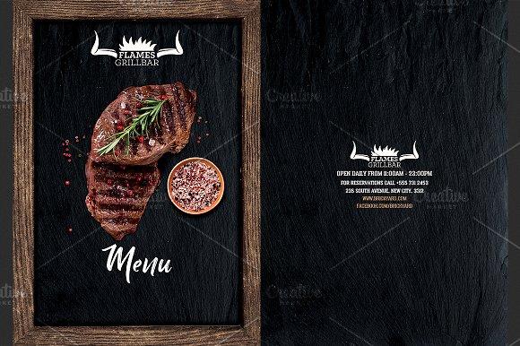 Grill Restaurant Menu Flyer Template Flyer Templates on Creative – Menu Flyer Template