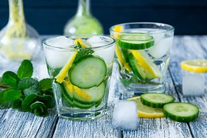 Lemon and cucumber detox water