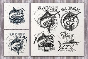 Set of Marlin Fishing Emblems