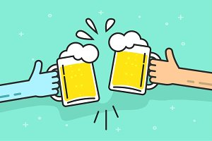Beer Party Cheers Mug Hands Vector