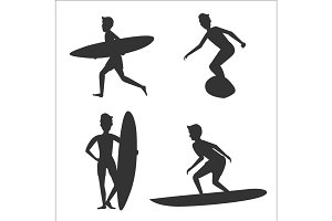 Set of silhouettes of male surfers