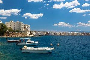 Fishing boats at the coast of Greece in Loutraki