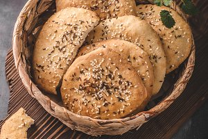 Homemade crackers with cumin