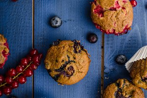 Homemade healthy muffins with fruit