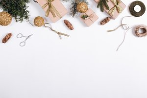 Christmas balls, fir branche