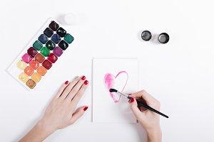 Women's hands painted watercolor