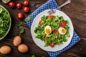 Lambs lettuce salad, hard-boiled eggs