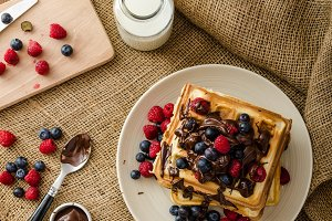 Waffles with fruits and chocolate