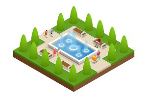 Beautiful fountain in the park. A zone of rest and relaxation. Children play near the fountain. Flat vector isometric on white background