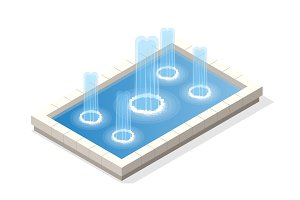 Isometric fountain water spout spray in basin isolated on white background.