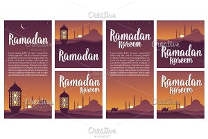 Ramadan kareem lettering with lamp, minarets, crescent, star in sky.