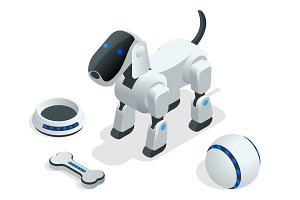 Isometric set of Techno Robot dog.
