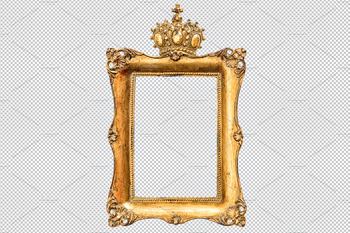 Baroque golden picture frame PNG ~ Graphic Objects ~ Creative Market