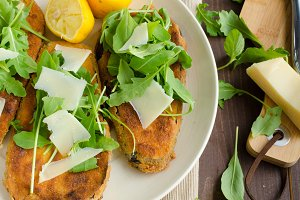 Fried breaded eggplant with salad