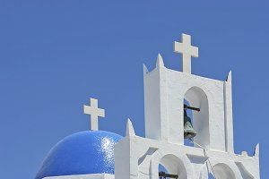 Blue dome church, Santorini, Greece