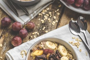 Homemade granola with fruit and chocolate