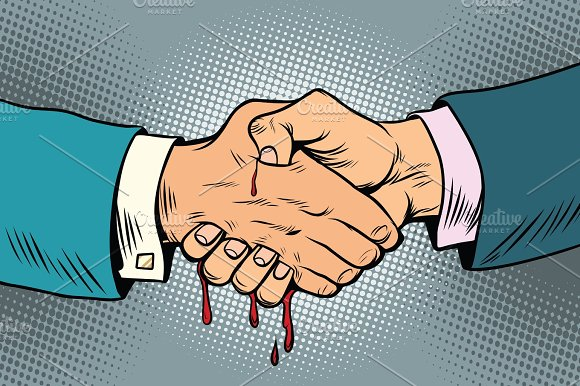 Bloody Handshake Underhanded Business Transaction