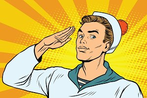 beautiful sailor salutes, the marine profession