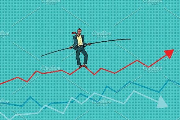 Businessman Tightrope Walke Schedule Of Sales