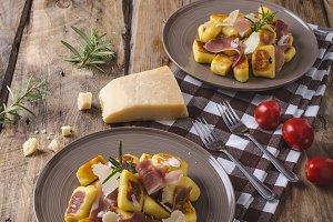 Roasted potato gnocchi with prosciutto