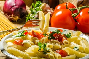 Delicious pasta with tomatoes