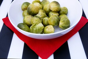Sprouts on red napkin