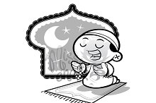 Coloring Page:Muslim Praying Boy