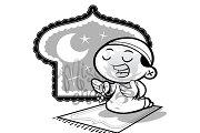 Coloring Page:Muslim Praying Boy
