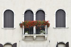 Balcony with geraniums in venice