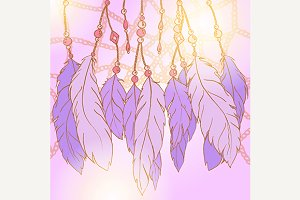 Dream catcher feather vector art