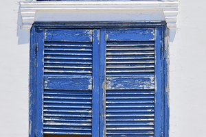 Greece, blue window in Santorini.