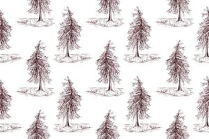 Sketched pine tree seamless pattern
