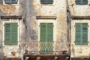 Aged facade, Corfu, Kerkira, Greece