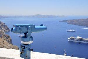 Blue binoculars