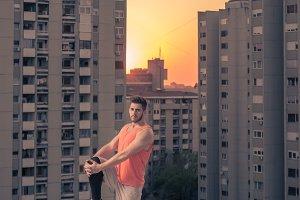 man roof rooftop, sun sunset sunrise