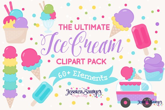 The Ultimate Ice Cream Clipart Pack in Illustrations